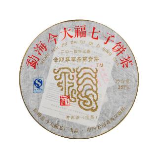 今大福 2014年 金印尊享茶芽青饼 普洱茶 生茶 357克/饼